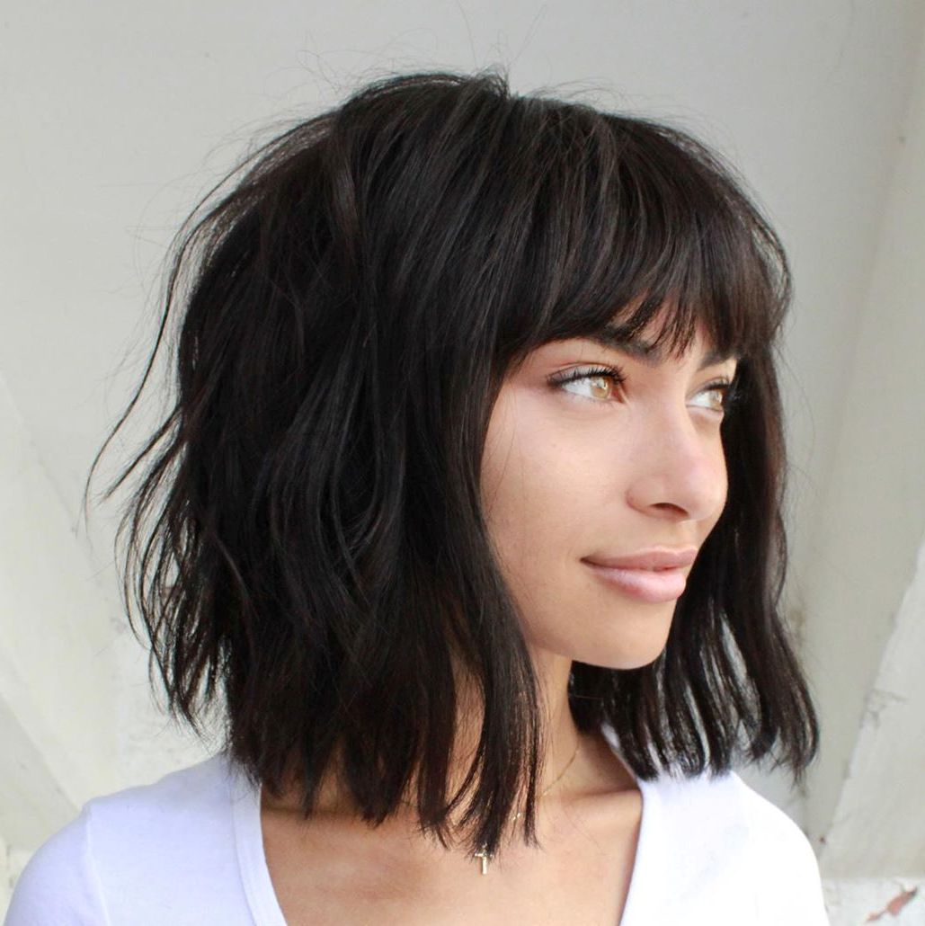 Dark Brunette Bob Hairstyle for Long Neck
