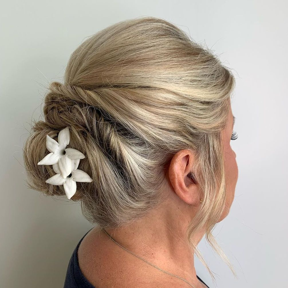 Low Bun Updo for Short Hair