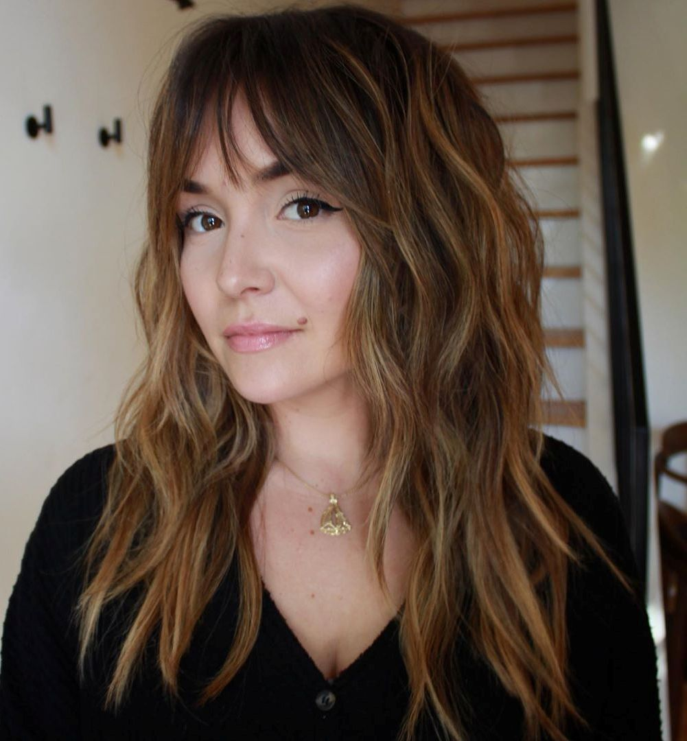 Long Hair with Bangs for Oval Faces