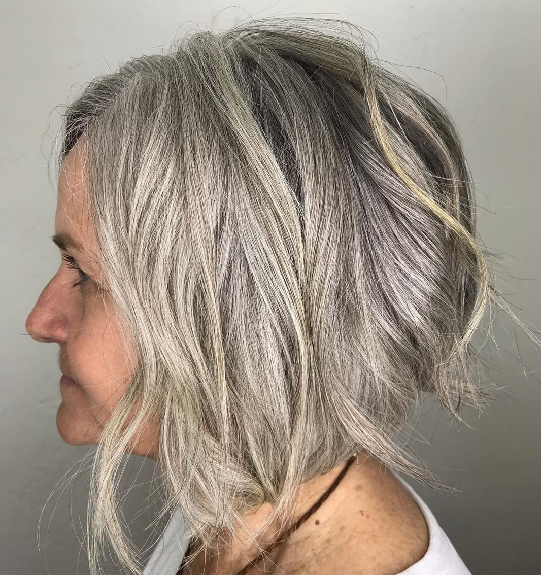 Stylish Wavy Gray Bob