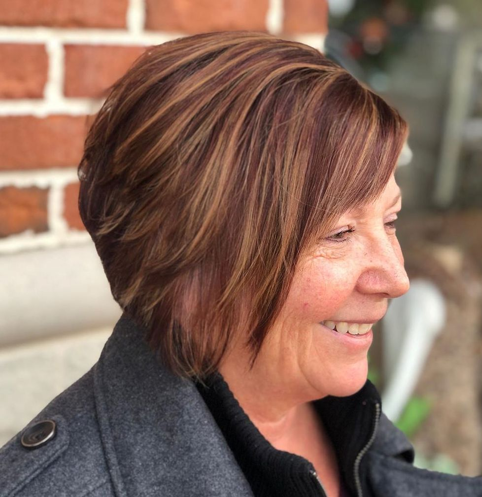 Reddish Brown Layered Haircut Over 60