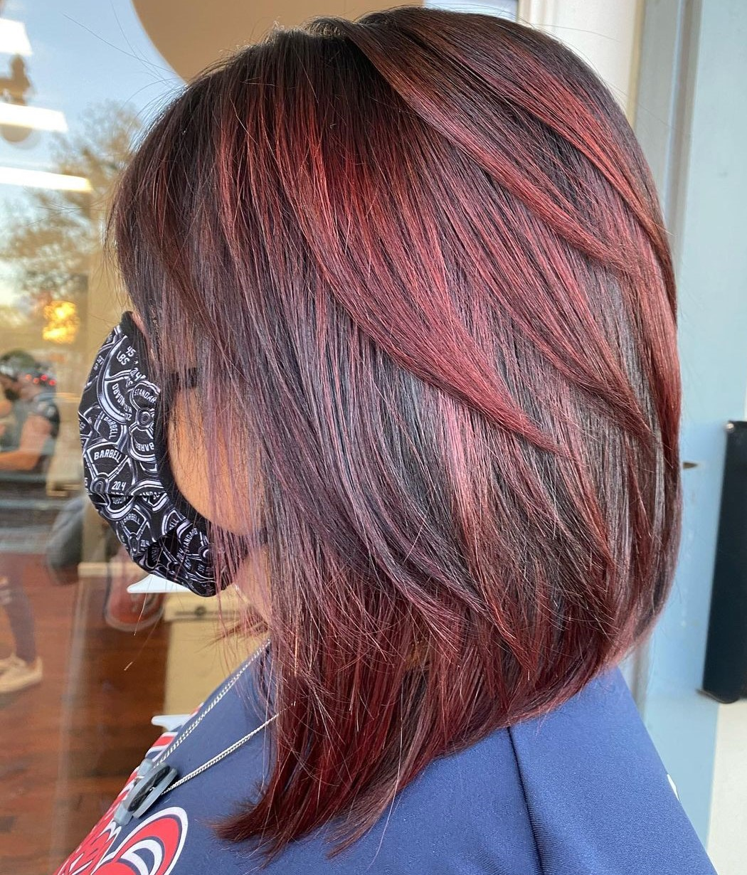 Dark Hair with Red Highlights for Women Over 50