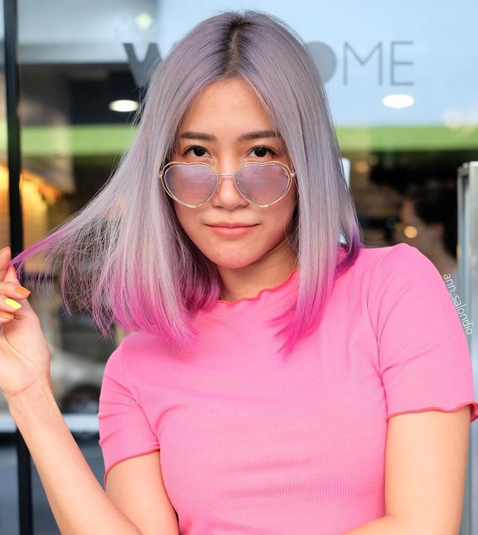 Icy Silver Hair with pink Dip Dye