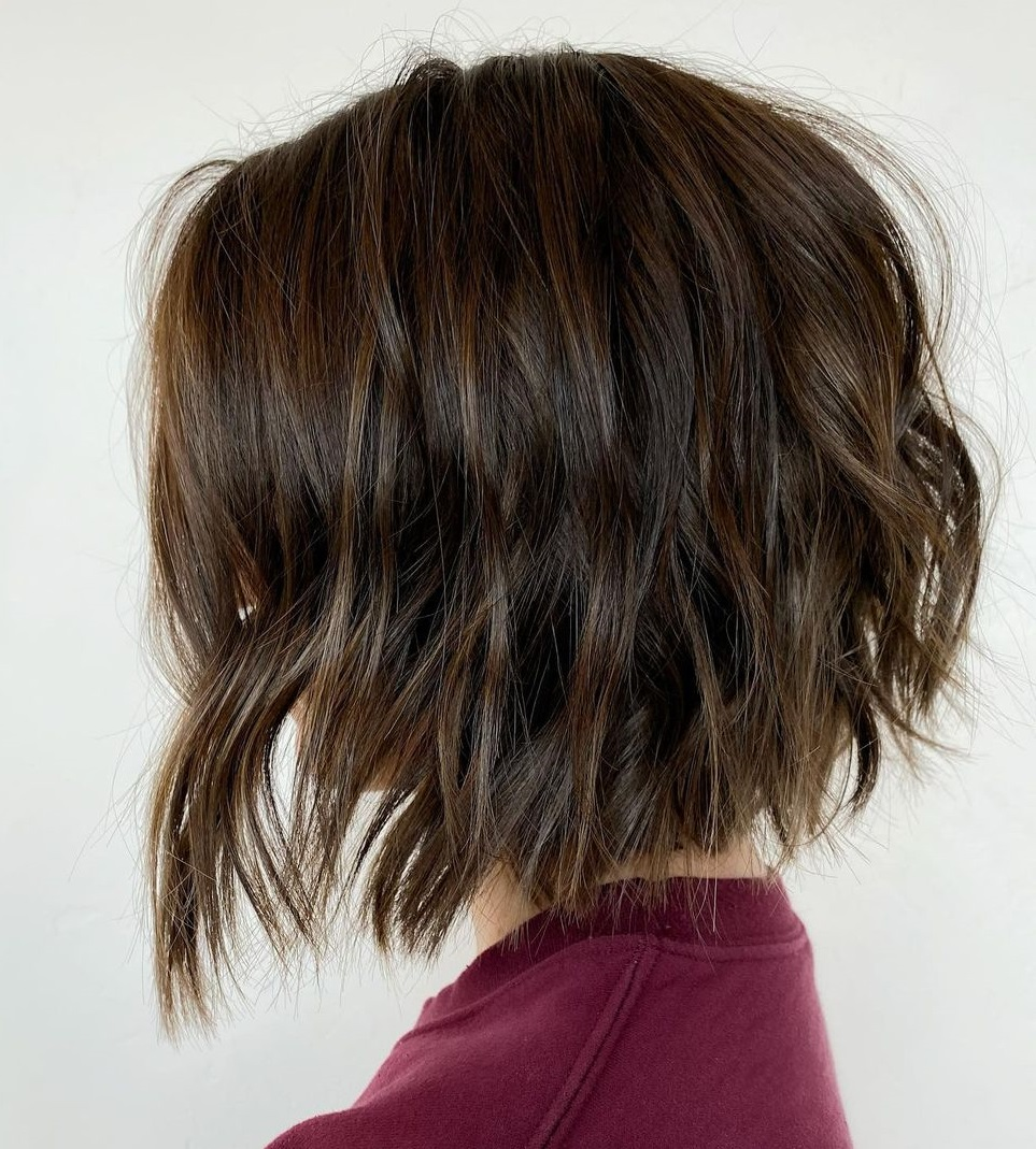 Tousled Dark Bob with Partial Highlights