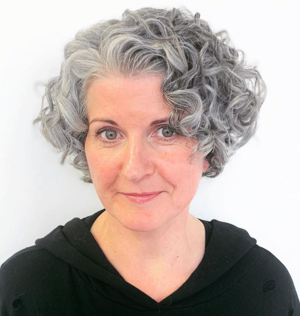 Short Curly Bob for Gray Hair