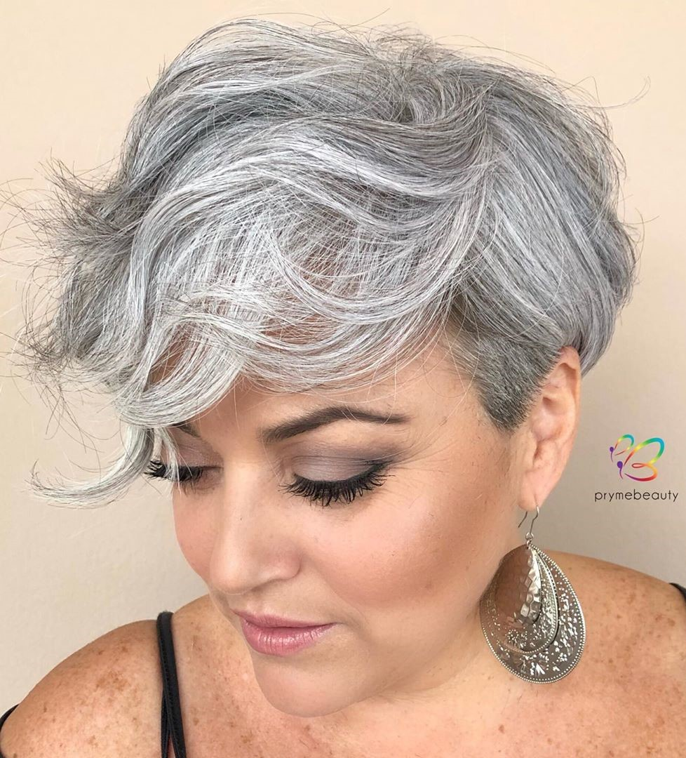 Salt-and-Pepper Wavy Pixie Cut
