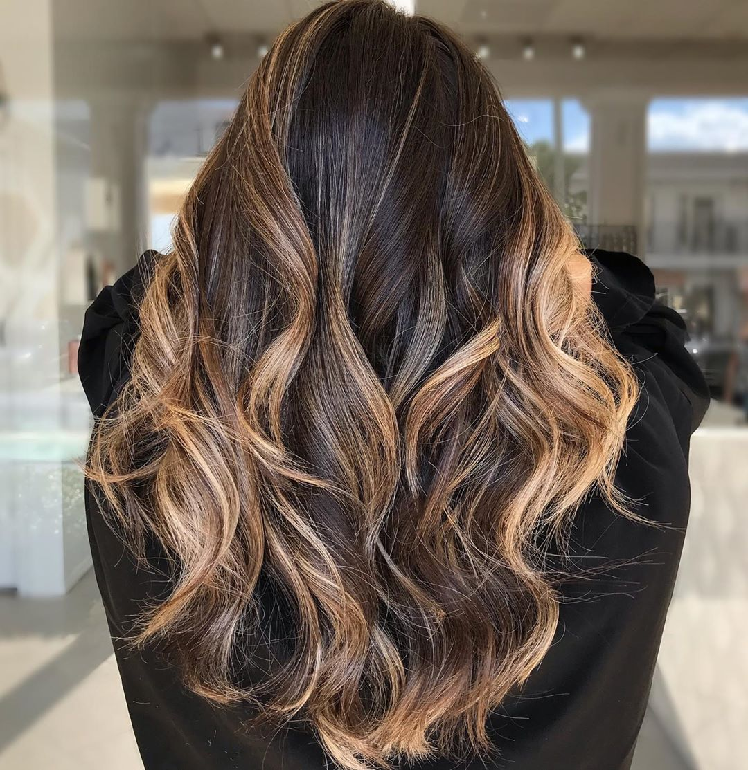 Deep Chocolate Hair with Highlights