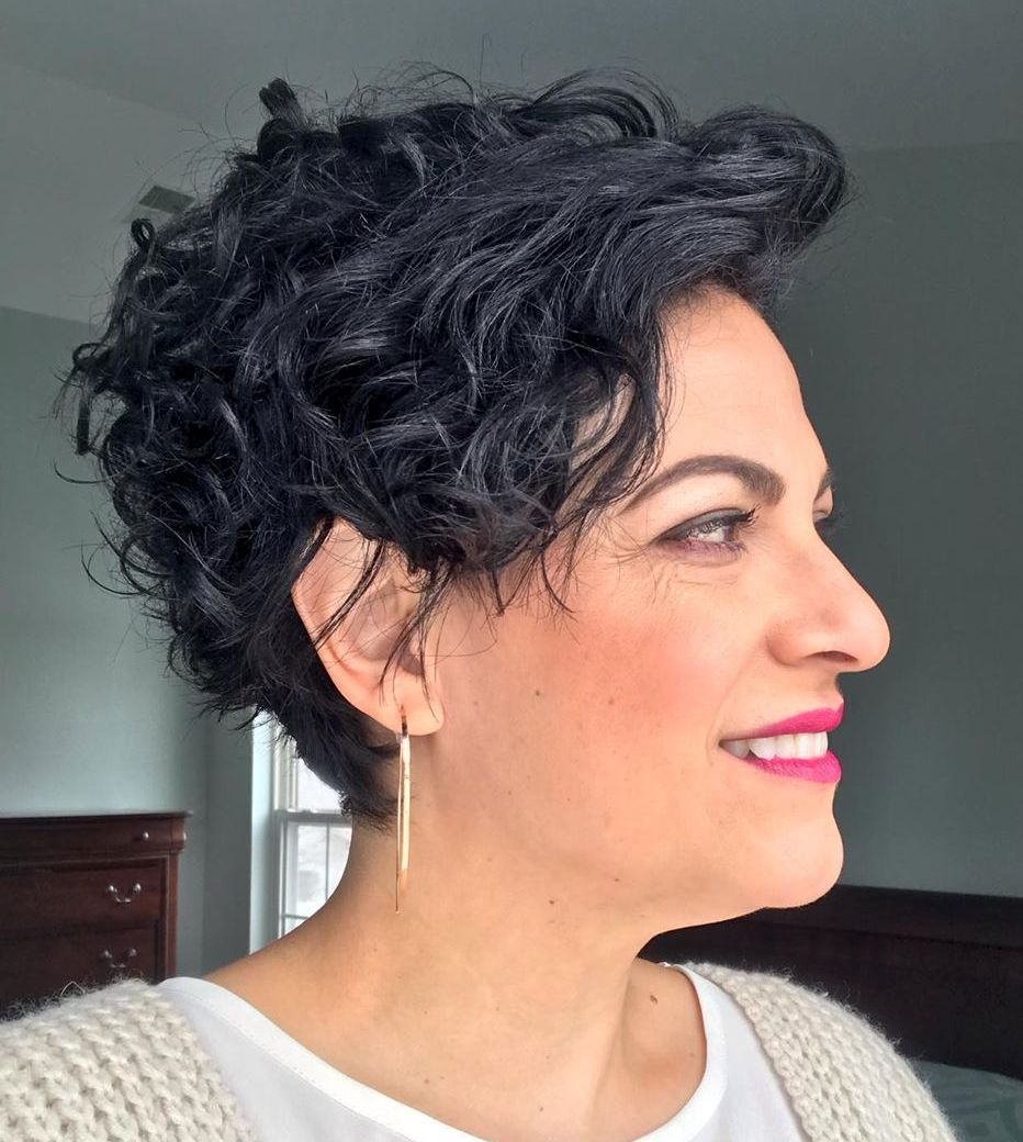 Tapered Curly Pixie Hairstyle