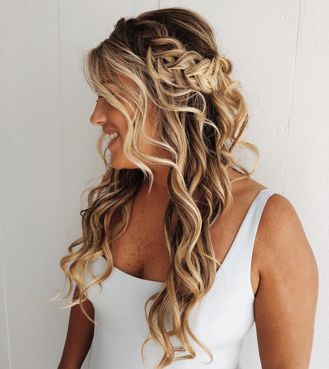 Wavy Half Up Half Down with a Braid
