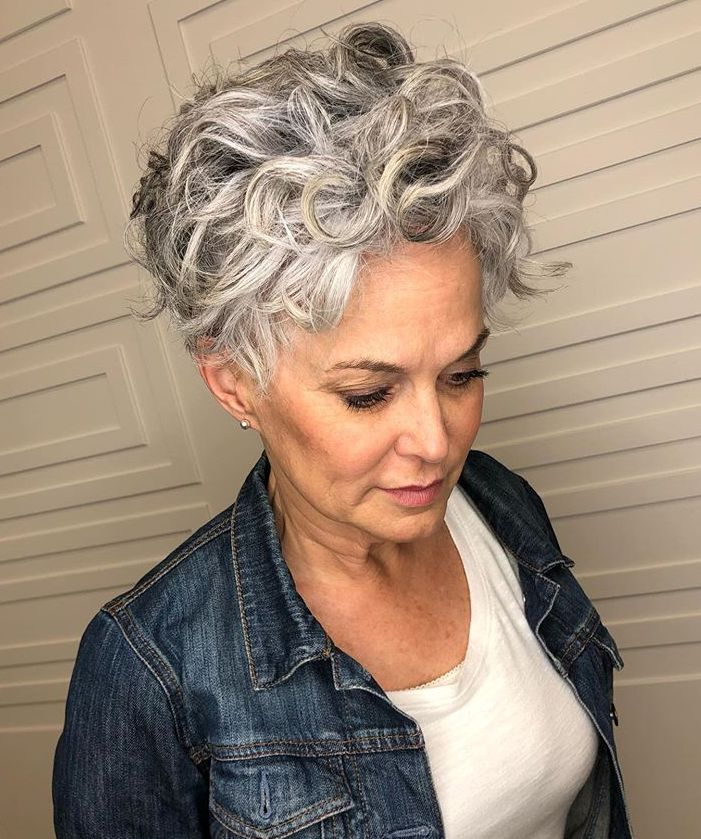 Curly Short Gray Haircut 2020