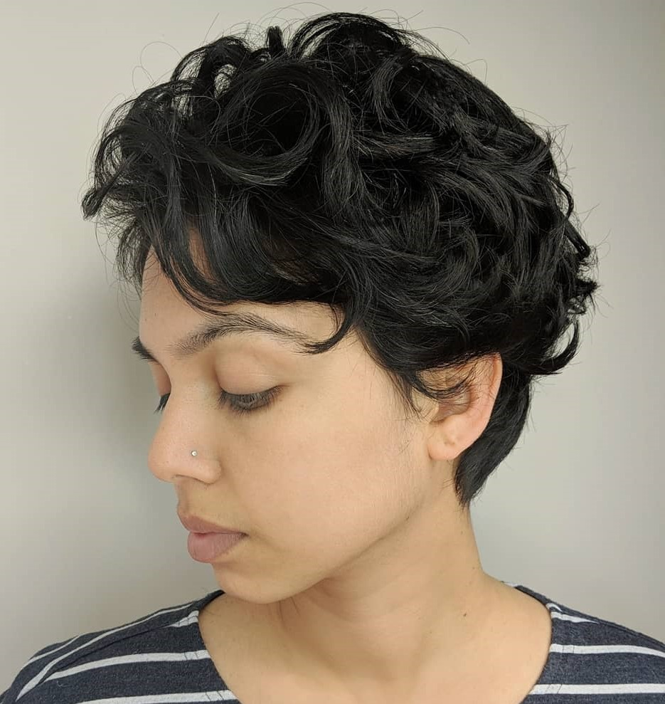 Black Pixie with Distinct Curls