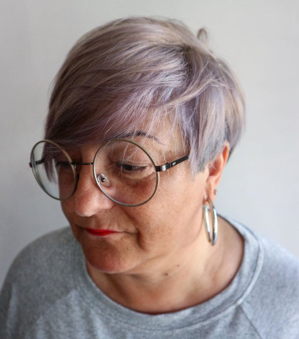 Short Lilac Hairstyle with Bangs for Women
