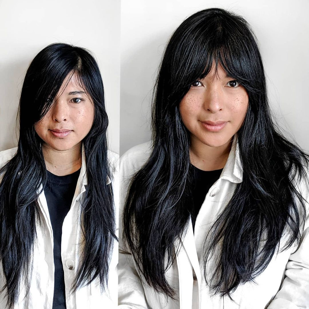 Layers and Curtain Bangs for Long Hair