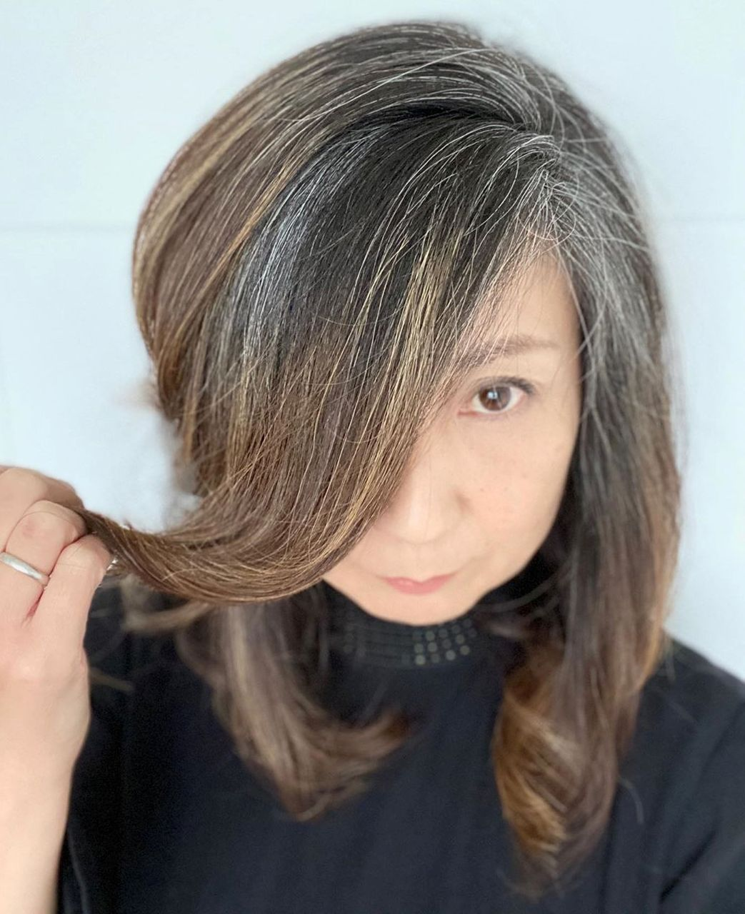Balayage for Dark Hair Turning Gray