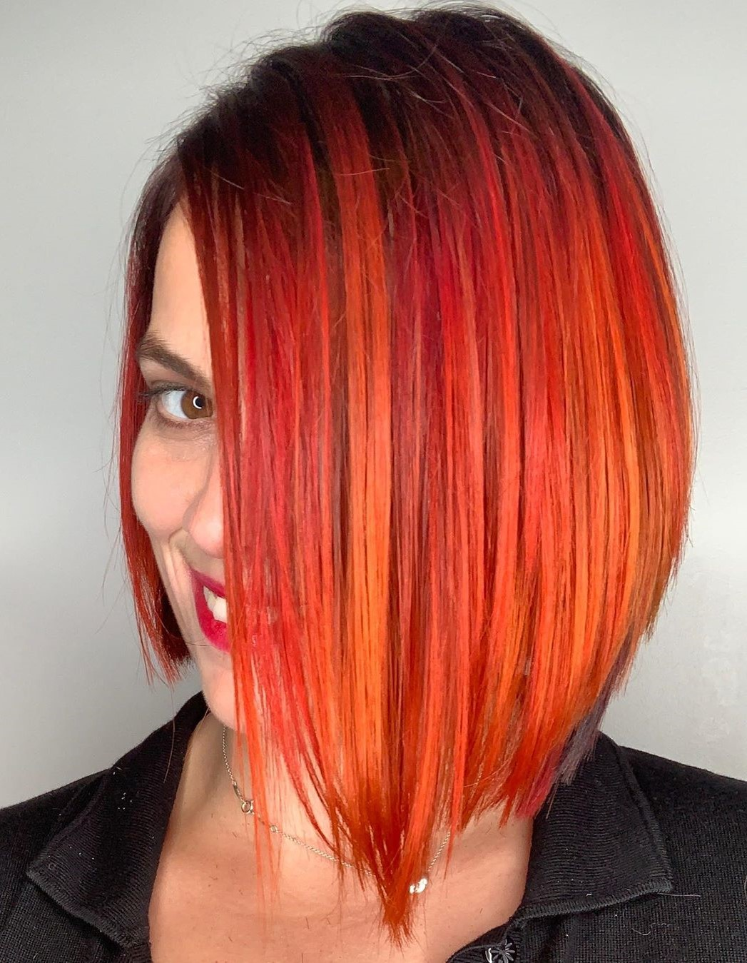 Red and Orange Balayage Bob