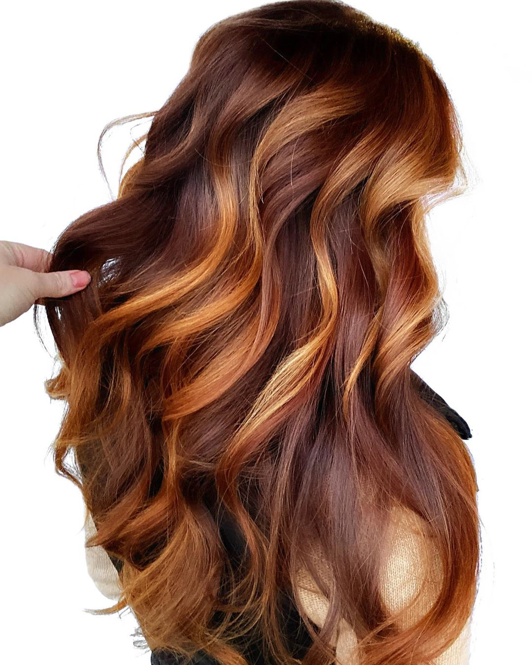 Long Brown Red Balayage Hair