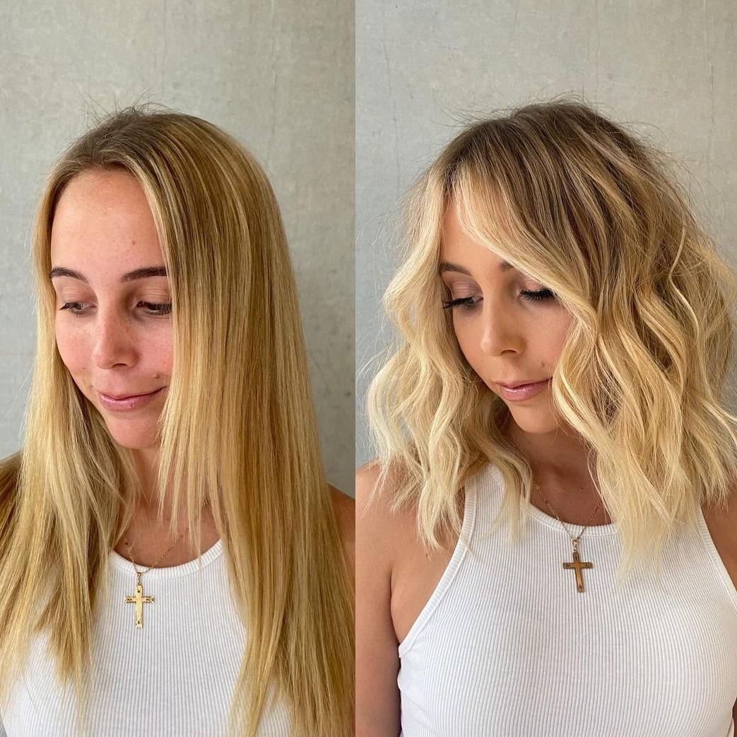 Shaggy Lob Haircut with Waves for Fine Hair