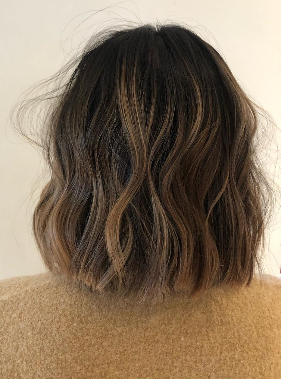 Shoulder-Length Messy Wavy Bob