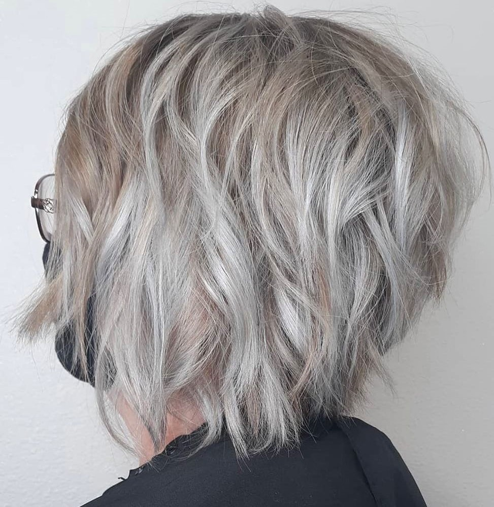 Ash Blonde Hair with Gray Balayage