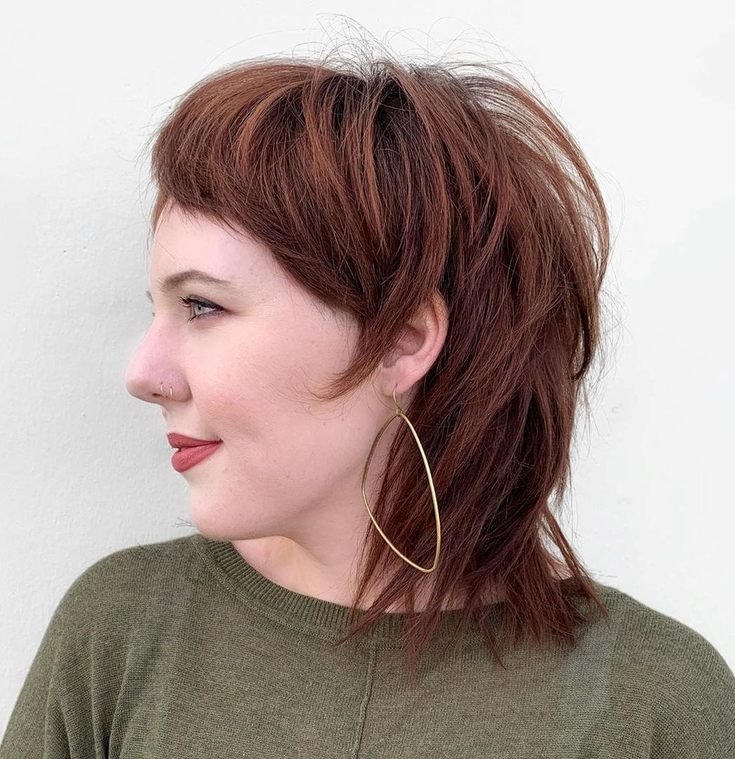 Medium Feathered Hair with Cropped Bangs