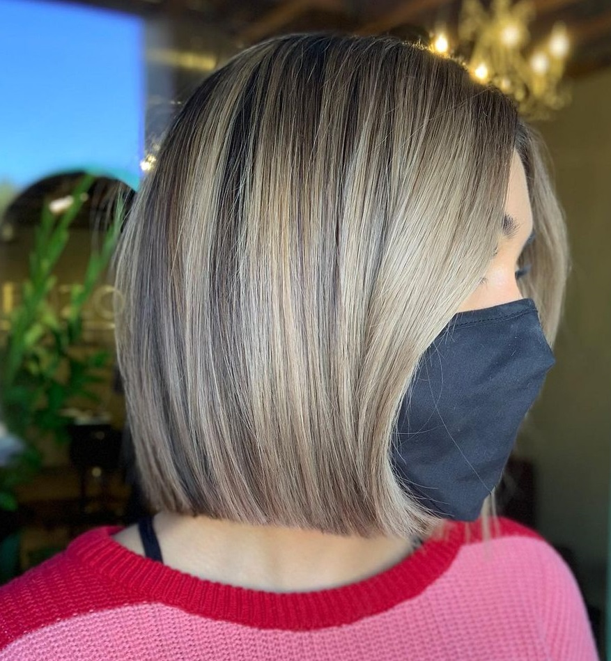Elegant Blunt Bob with Highlights