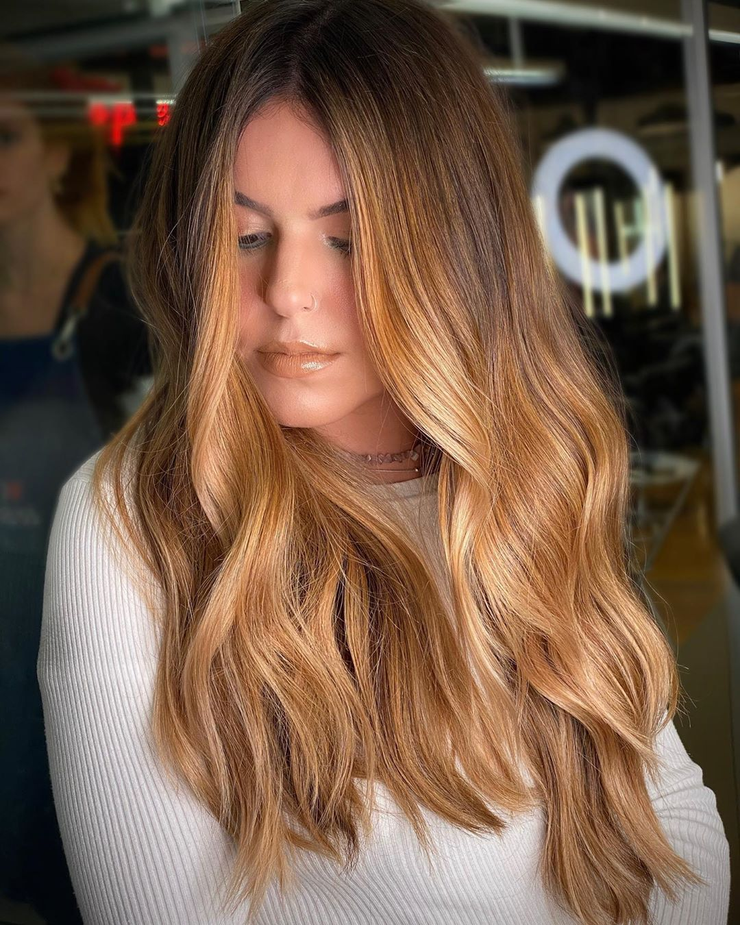 Soft Caramel Ombre for Long Hair