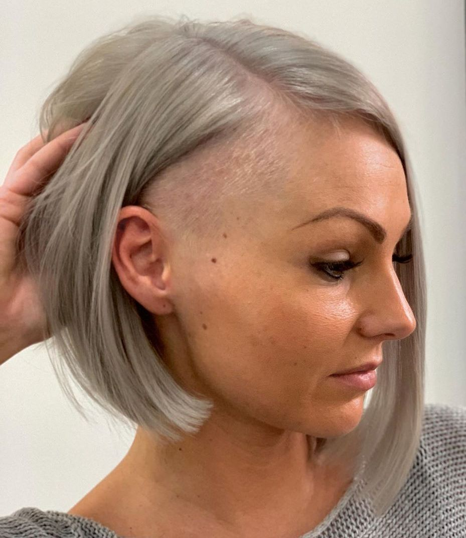 Asymmetrical Gray Undercut Bob