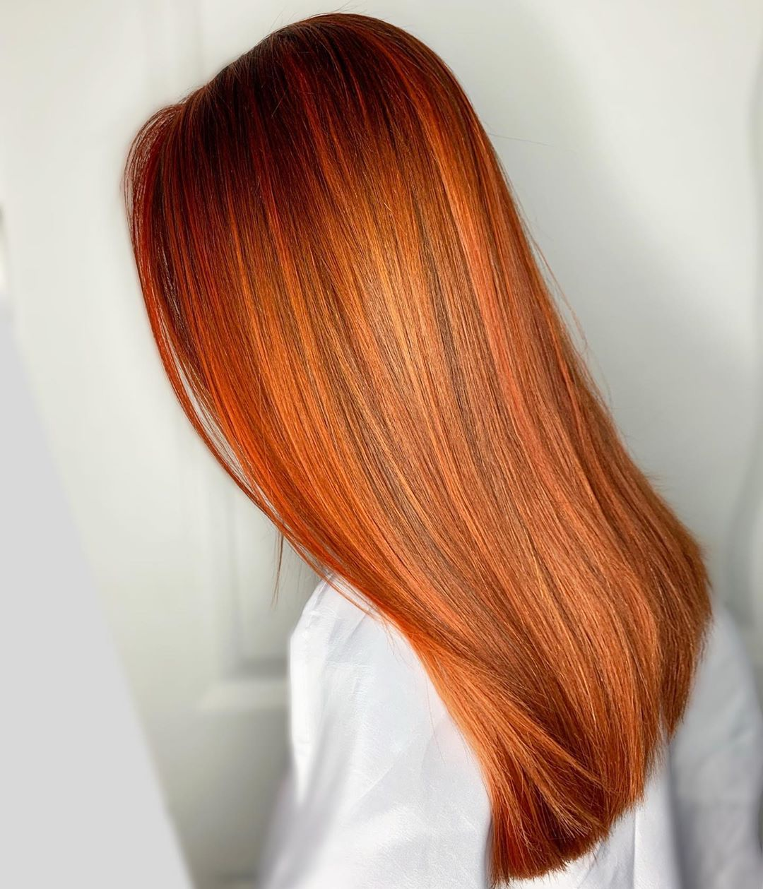 Red Orange Hair with Dark Roots
