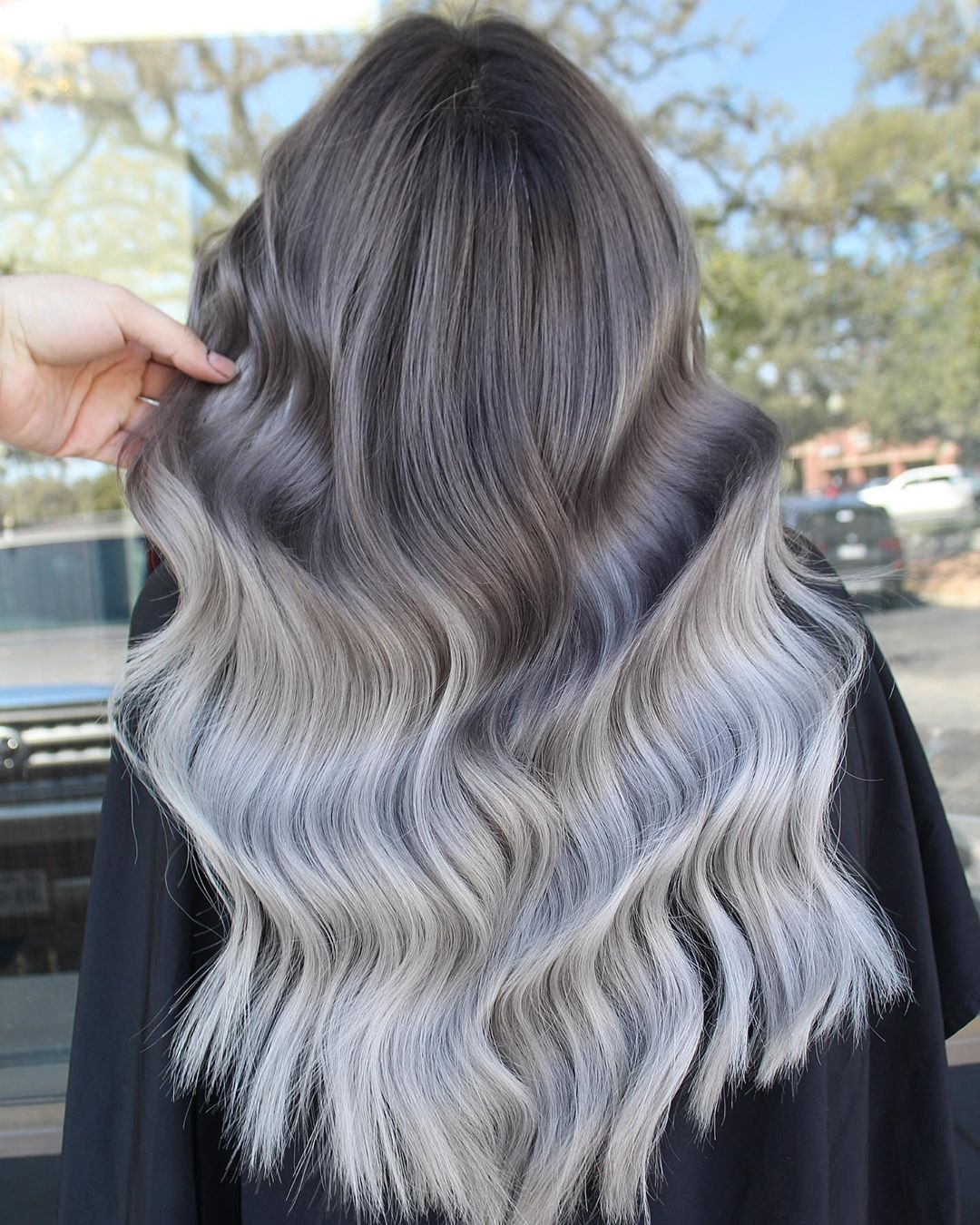 Long Brown to Silver Ombre Hair