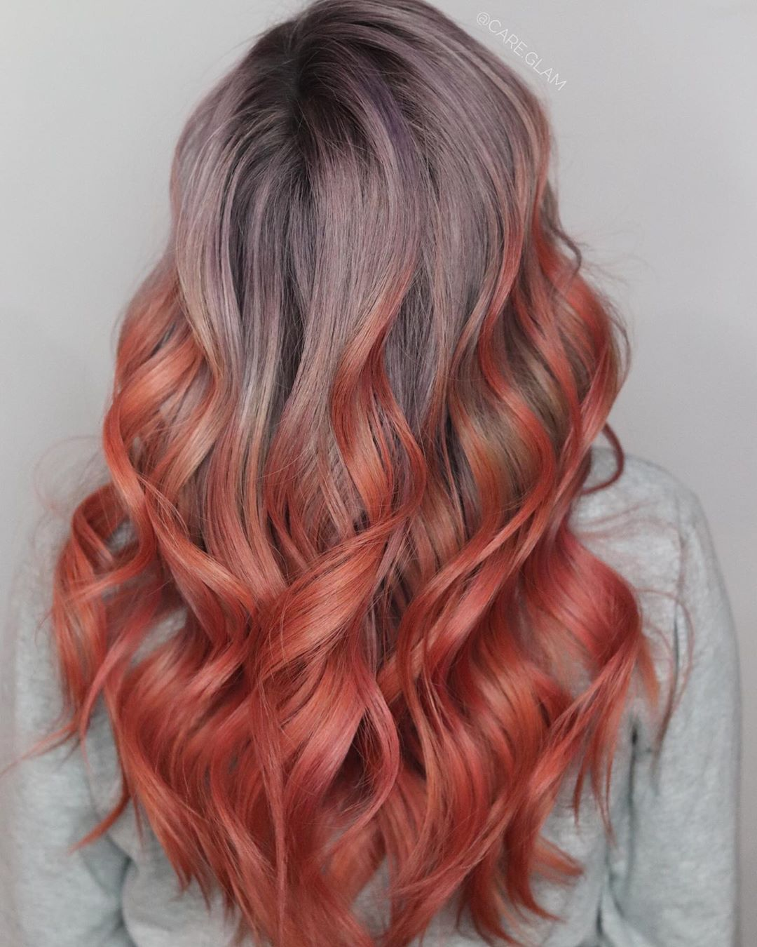Red Ombre with Dusty Purple Roots