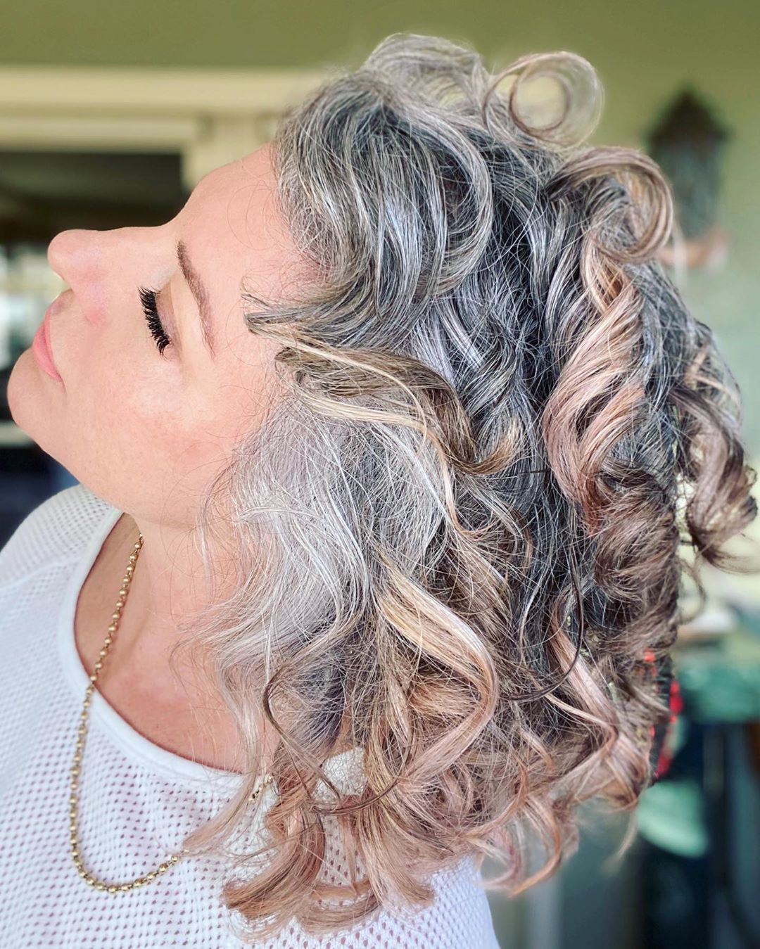 Gray Curly Hair with Highlights