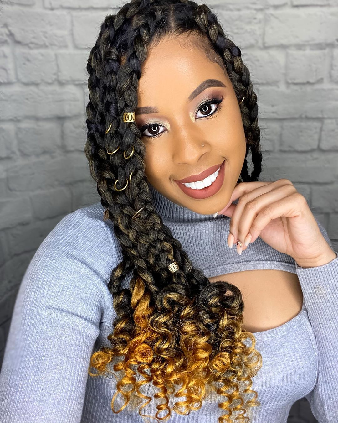 Long Braids with Curly Ends