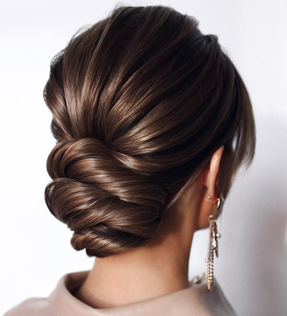 Twisted Low Bun Updo Hairstyle