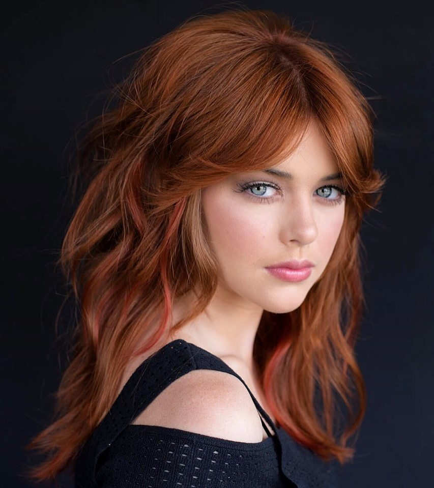 Natural Auburn Hair with Babylights