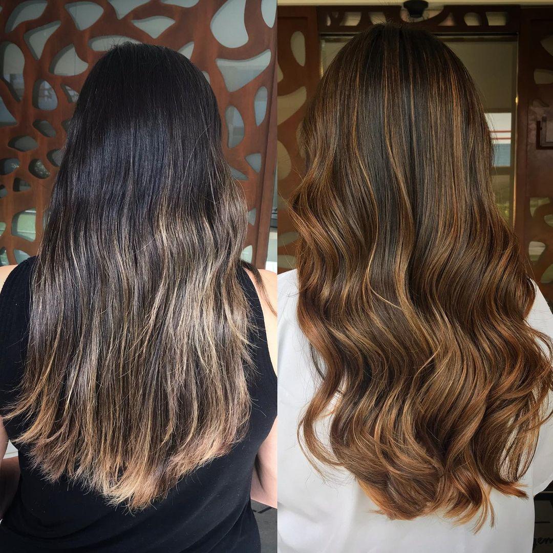 Dark Hair with Sun-Kissed Highlights