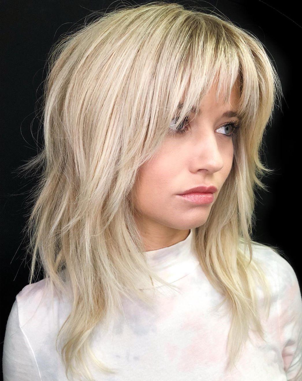 Medium-Length Light Blonde Shag