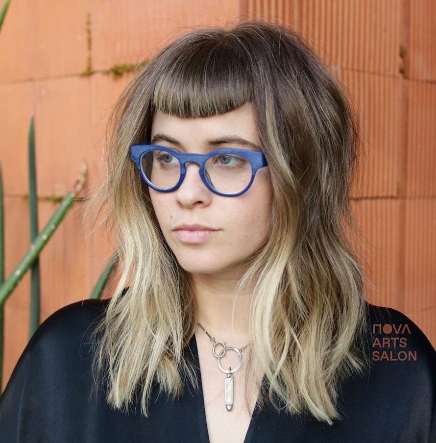 Hairstyle with Short Bangs and Ombre