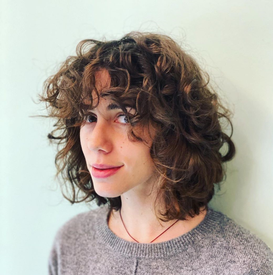 Haircut with Curly Bangs