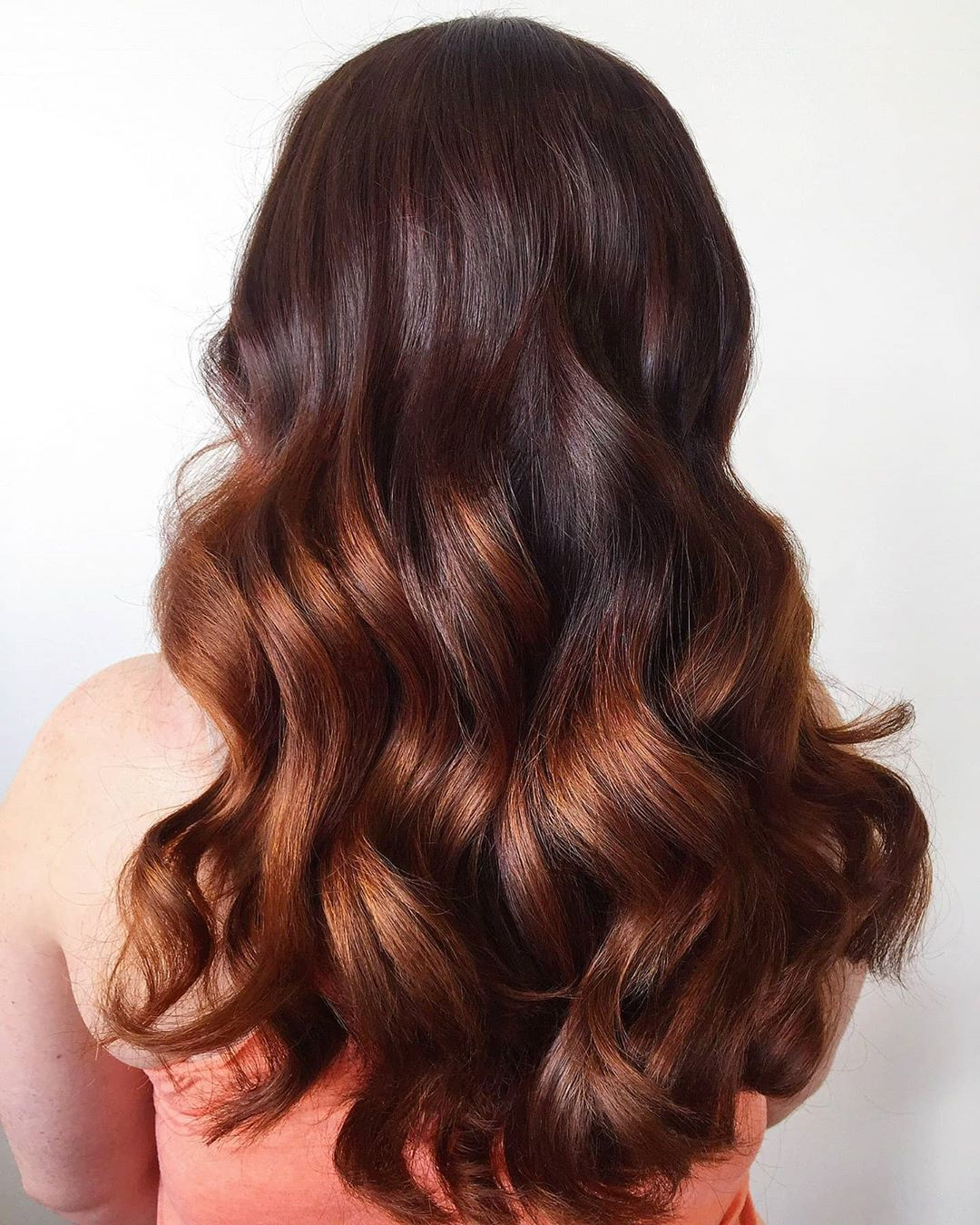 Dark Brown Hair with Caramel Ombre