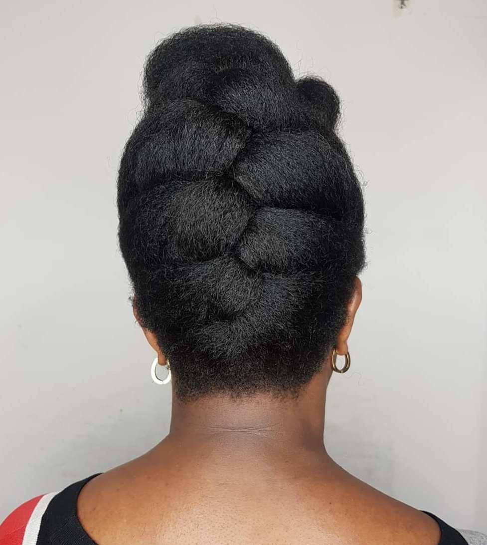 Elegant Simple Black Braided Updo