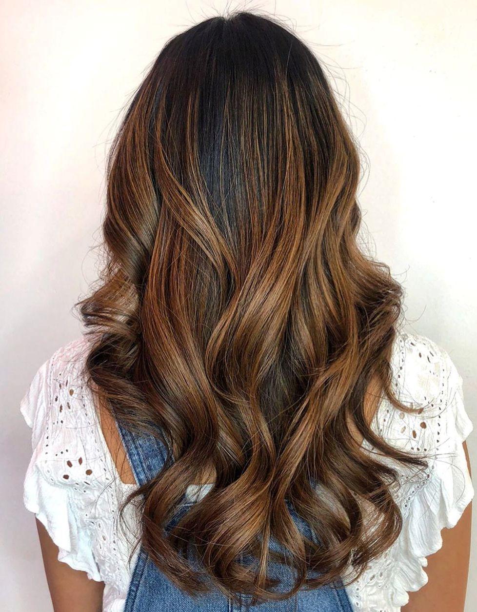 Light Chocolate Balayage for Dark Hair