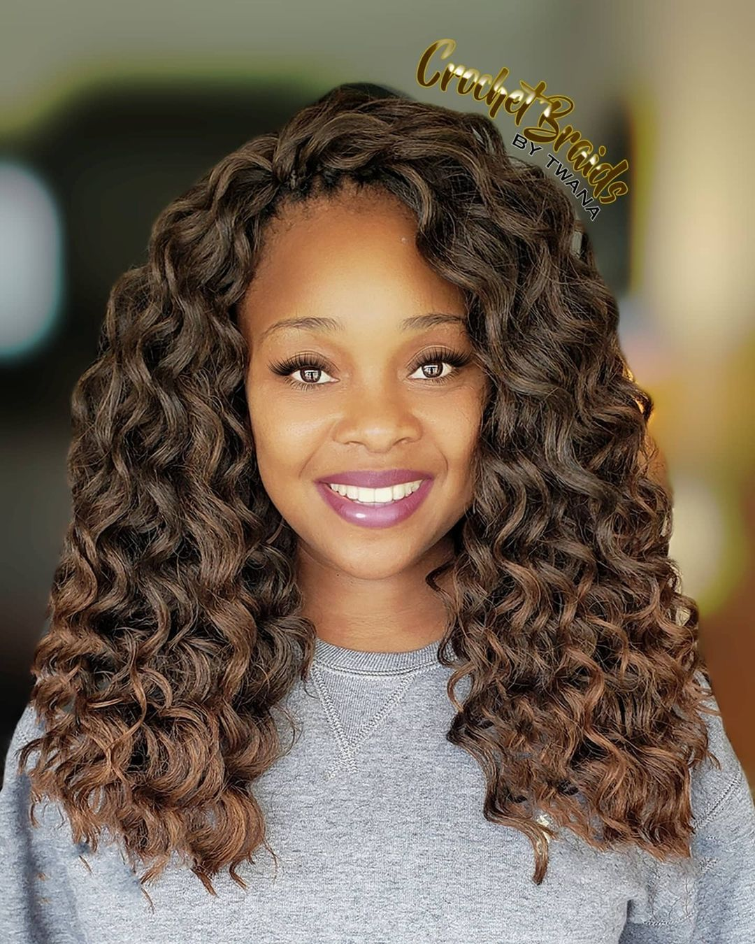 Brunette Curly Crochet Hair with Highlights