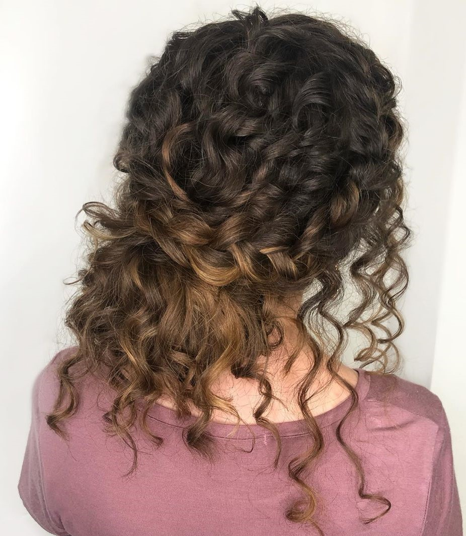 Crown Braid Updo for Naturally Curly Hair