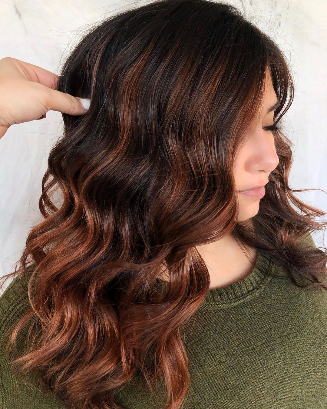 Rusty Balayage for Rich Brown Hair