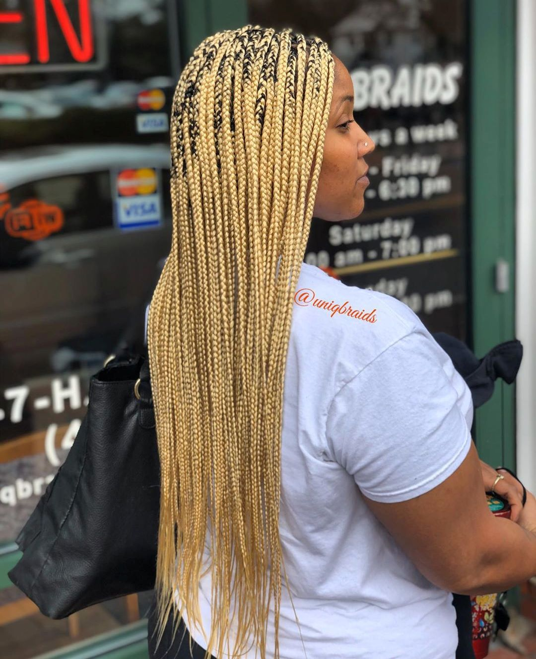 Long Blonde Medium Sized Box Braids