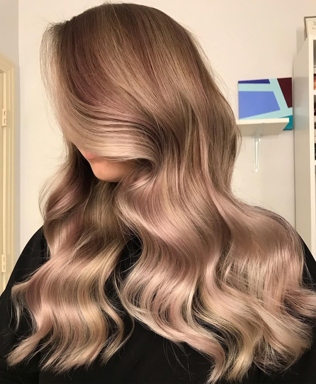 Rose Gold Balayage for Blonde Hair