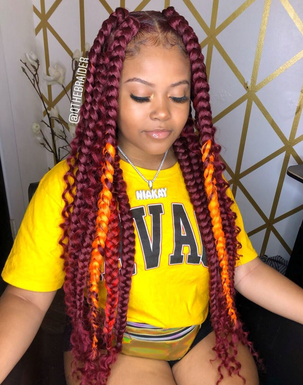 Middle-Part Burgundy Jumbo Box Braids with Curls