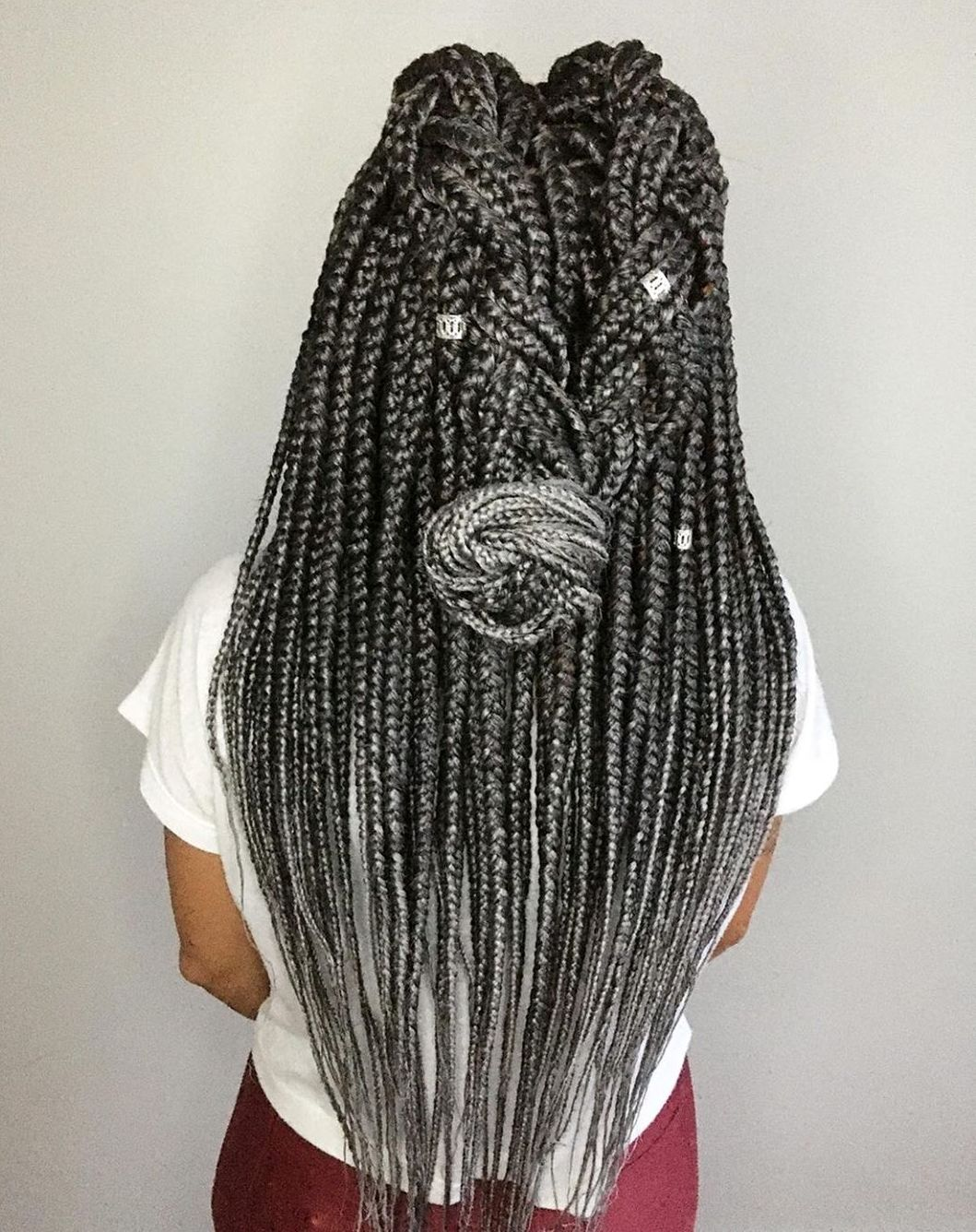 Black-to-Gray Ombre Big Braids