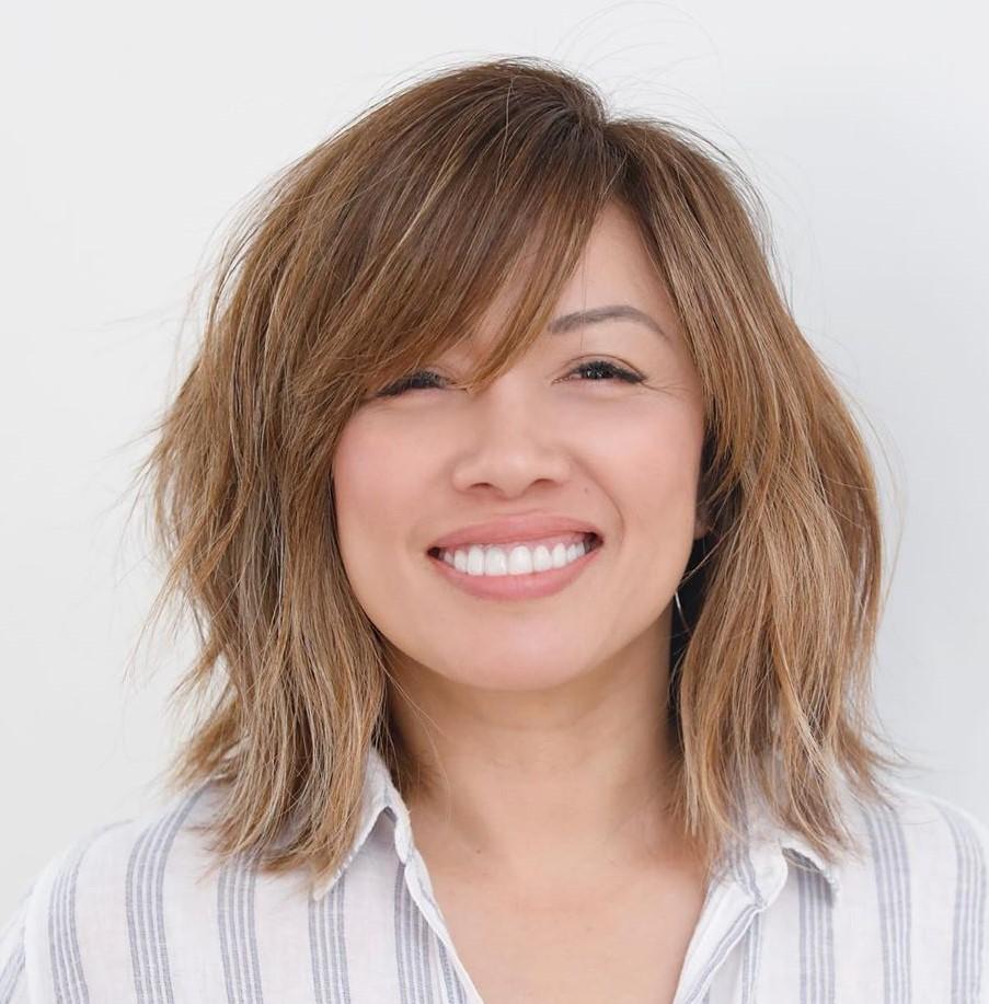 Shoulder-Length Hair with Side Bangs