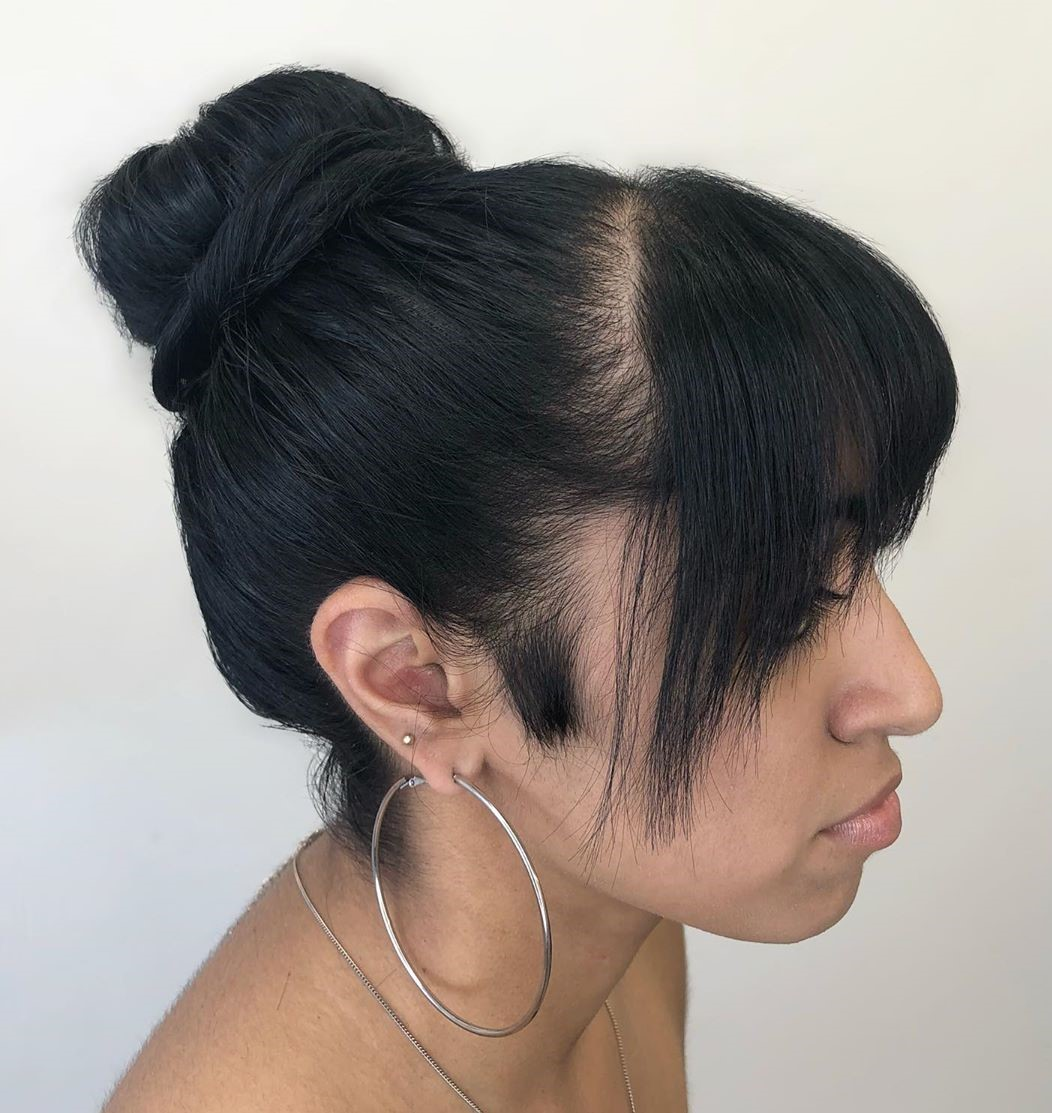 Bun Updo with a Fringe